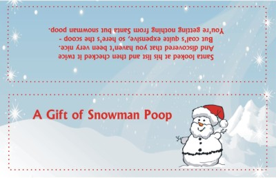 free snowman poop poem bag topper